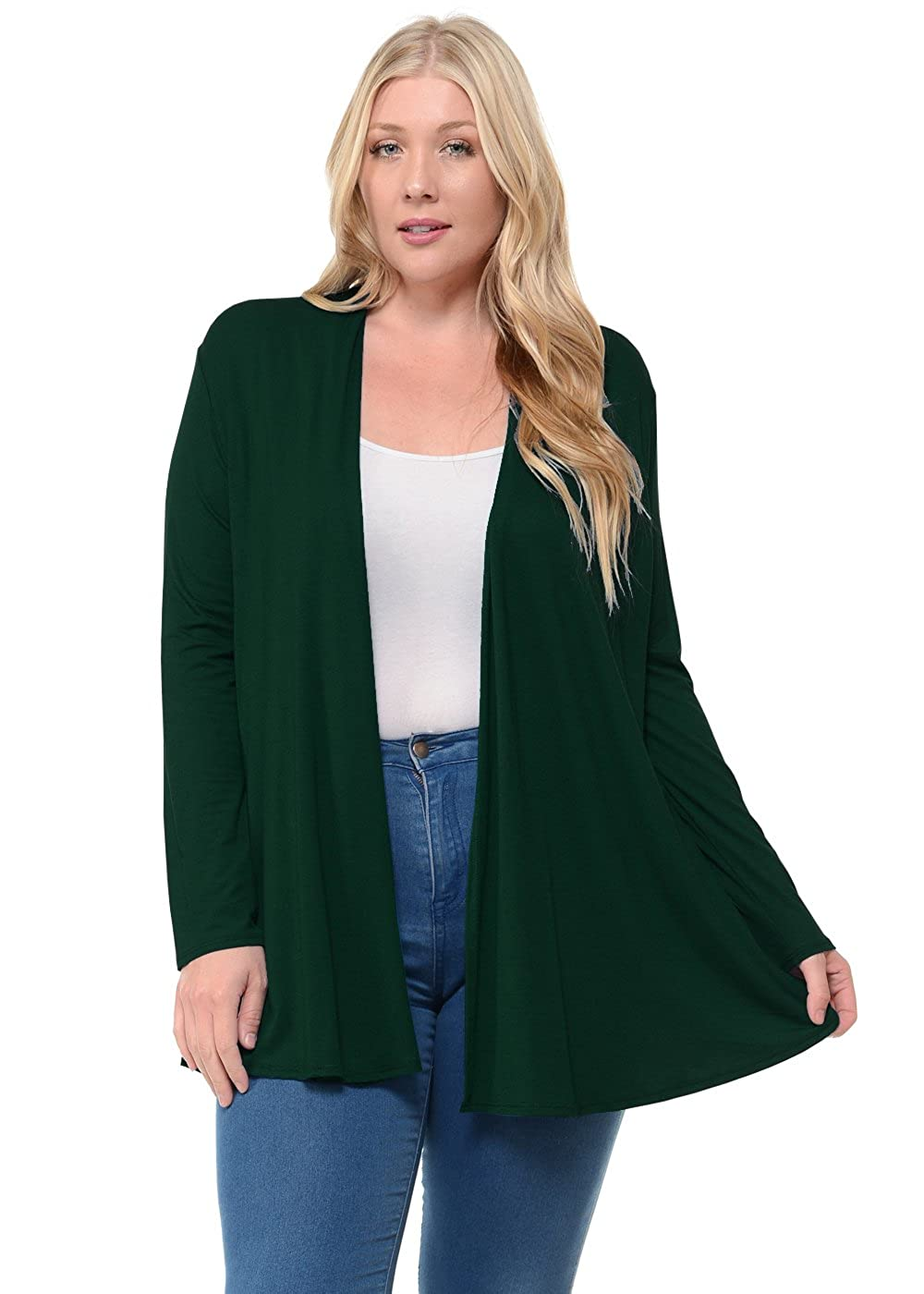 Pastel by Vivienne Women's Long Sleeve Jersey Plus Size Cardigan PV-3006-P