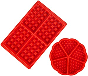Waffle Mold Silicone Waffle Silicone Mold Muffin Pans Molds Cake Chocolate Pan Baking Tray Mold for Waffle Cake Chocolate Craft Candy Soap,2 Pack,Flower and Square
