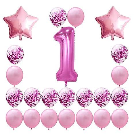 Gespout 23PCS Azul 1 Año de Edad Globo de Confeti Set ...