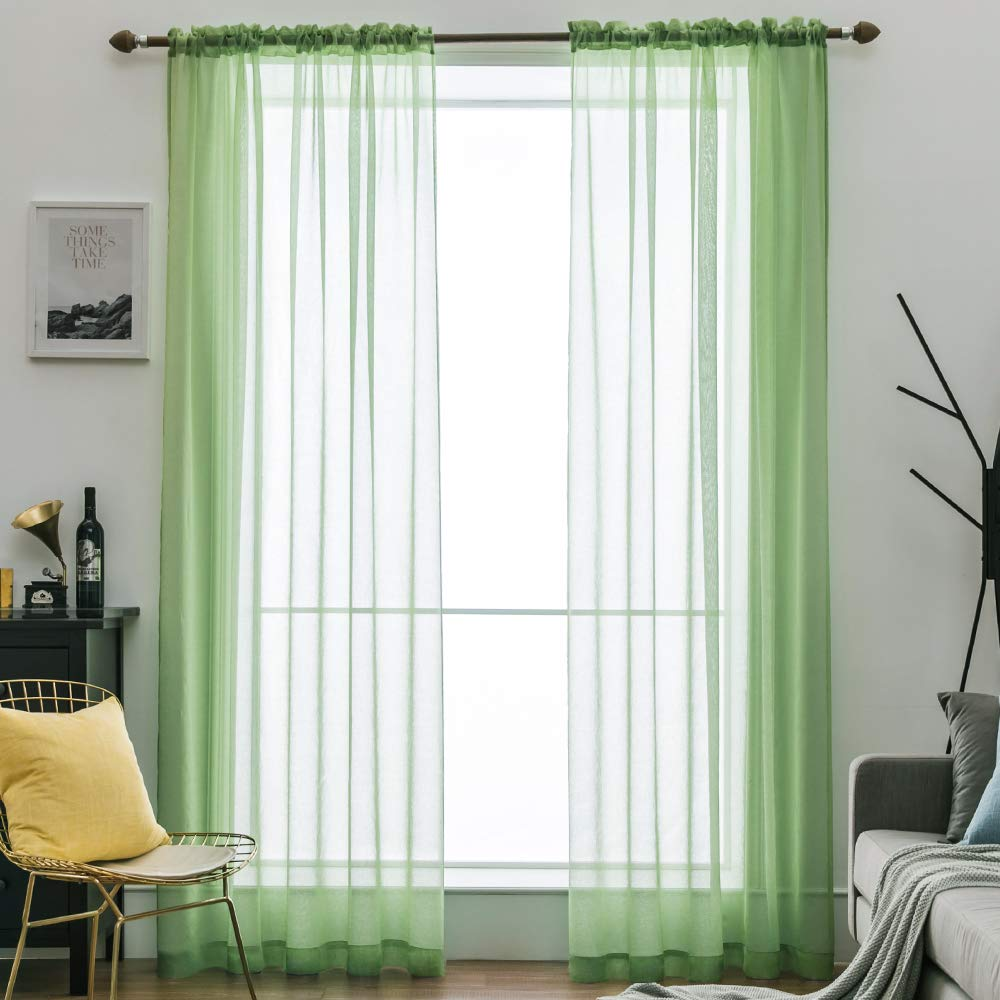 MIULEE 2 Panels Solid Color Semi Sheer Window Curtains Elegant Decoration Window Voile Panels/Drapes/Treatment Linen Textured Panels for Bedroom Living Room (54X72 Inches Red)
