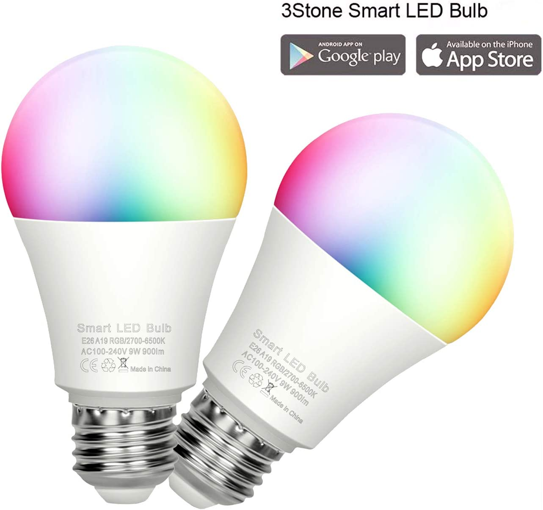 CSNDICE WiFi E26 Smart Bulb Colour Dimmable LED Light