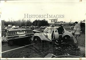 Historic Images -Press Photo Auto Accident Involving Onondaga County Sheriff Department Car