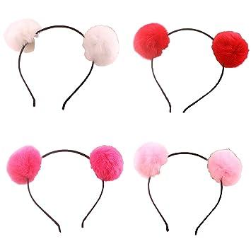 Amazon.com   Headband Bear Ears Fluffy Furry Soft Ball Cute Fashion Hoop  Hairband Halloween Christmas Party Birthday Headwear Cosplay Costume for  Girls Boys ... 05f3aad4639e