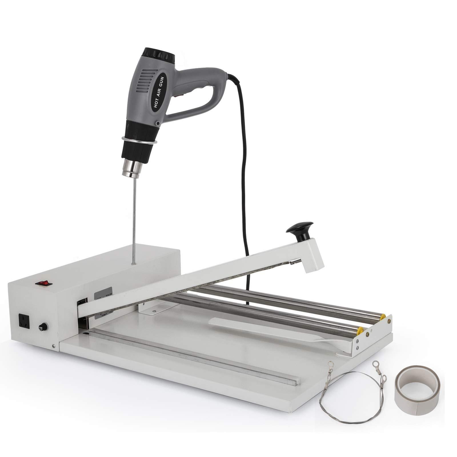VEVOR 24'' I-Bar Shrink Wrap Machine with Heat Gun I-bar Sealer Compatible with PVC POF Film Shrink Wrap Sealer for Home Commercial Use (24 Inch)