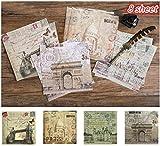 Layhome 8 Sheet Vintage Paper Sticker Designer Paper Travel Theme