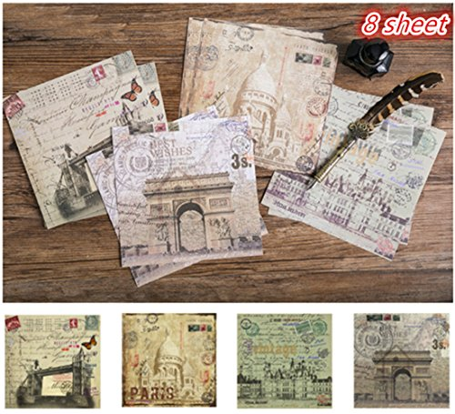 Layhome 8 Sheet Vintage Paper Sticker Designer Paper Travel Theme