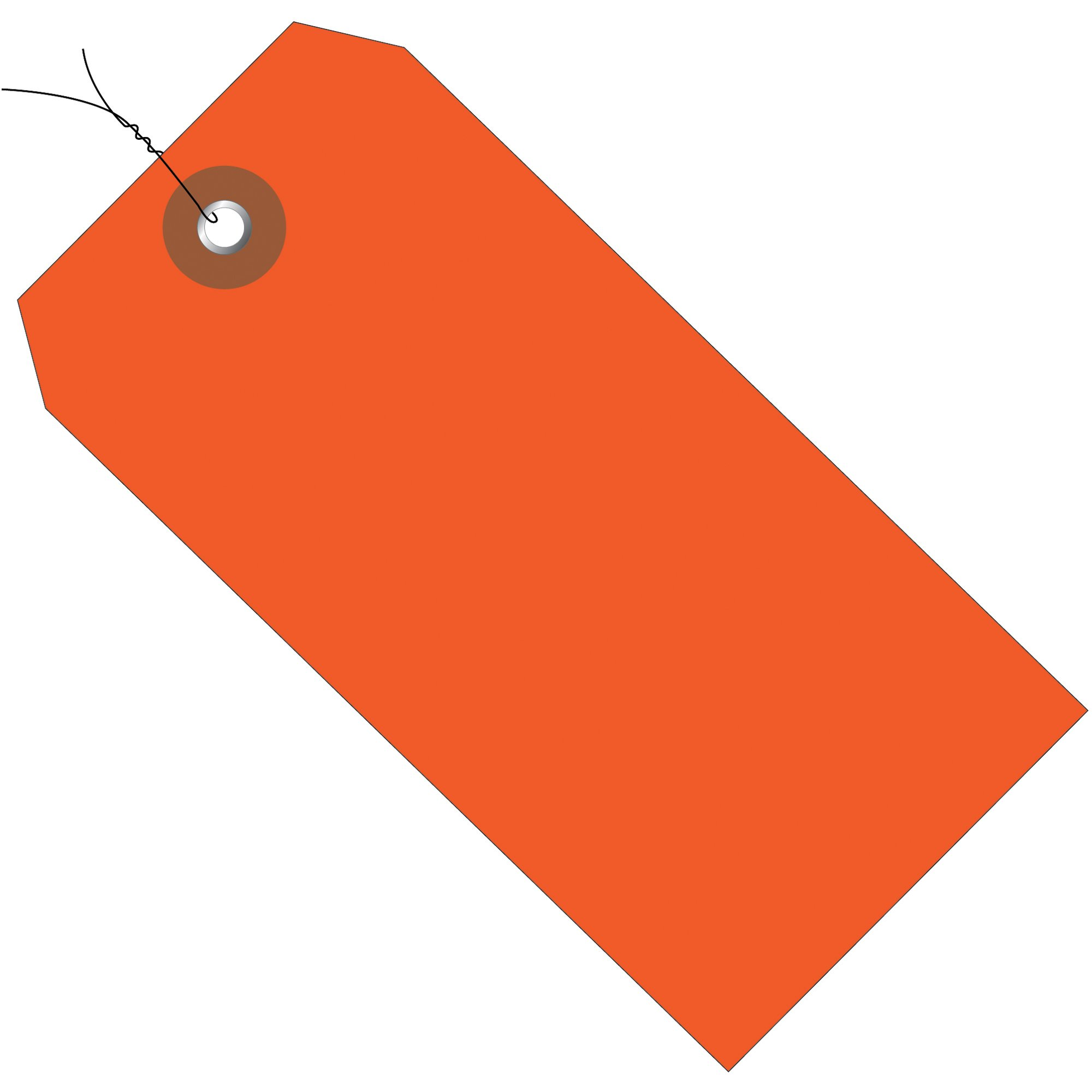 Aviditi Plastic Shipping Tags Pre-Wired, 4 3/4'' x 2 3/8'', Orange, Pack of 100 (G26053W)