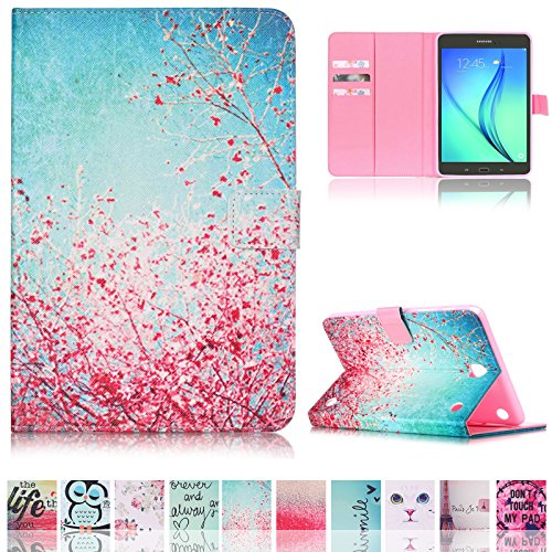 Tab A 9.7 Case,Ucover(TM) Ultra Slim Flip Cover,Shockproof Smart Stand Shell with Auto Sleep/Wake Feature for Samsung Galaxy Tab A 9.7 SM-T550 (Plum Blossom) (Kitty Samsung Hello Tablet)