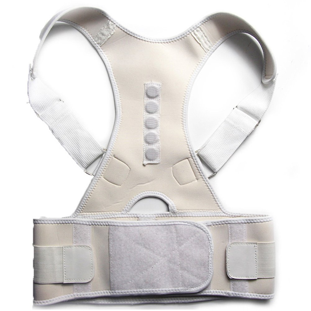 Adjustable Posture Corrector for Women and Men Neck Shoulders and Back Pain Relief, Back Straighten Belt Brace Shoulder Support PainTherapy(White M)