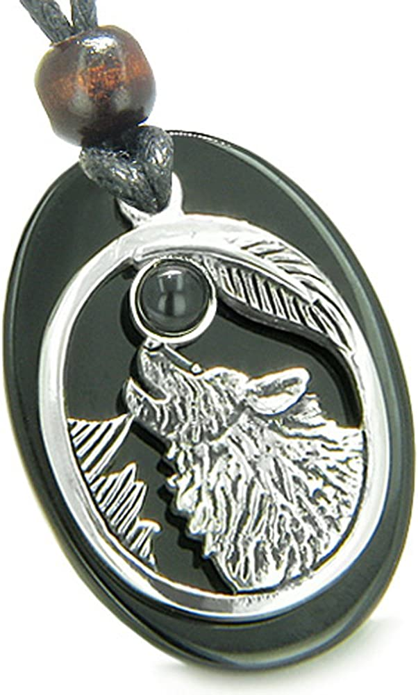 BestAmulets Amulet Courage Howling Wolf Moon Spiritual Power Lucky Charm Black Agate Pendant Necklace