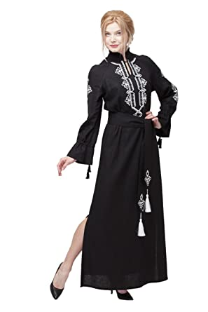 82f7c7900c0 Embroidered Long Black Linen Woman Boho Dress in Turkish Style - Black -   Amazon.co.uk  Clothing
