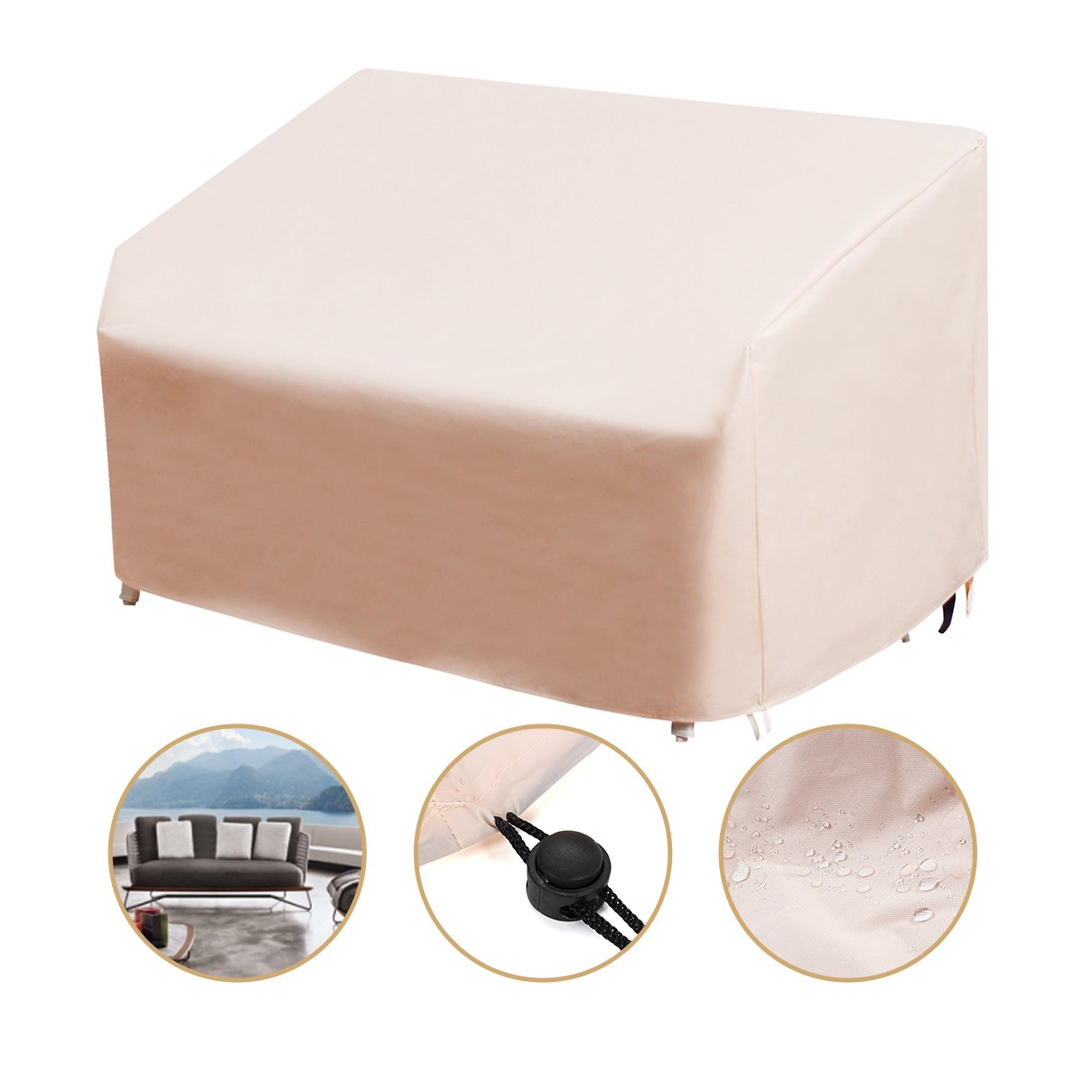 dDanke Beige 3-Seater Deep Lounge Sofa Cover Waterproof Outdoor Bench Seat Cover 215*109*101cm