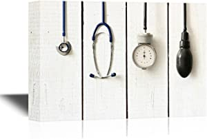 wall26 - Canvas Wall Art - Medical Apparatus and Instruments on Wood Style Background - Gallery Wrap Modern Home Decor | Ready to Hang - 16x24 inches