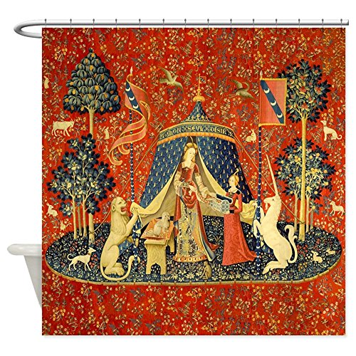 (CafePress Lady and The Unicorn Medieval Tapestry Art Shower Decorative Fabric Shower Curtain (69