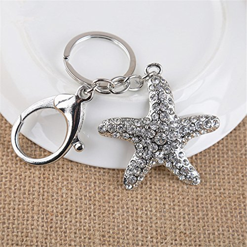 Reizteko Five Pointed Star Shaped Pendant Keychain Handbag Charms Accessories Purse Keychain for Women (Silver Tone) (Shaped Keychain Star)