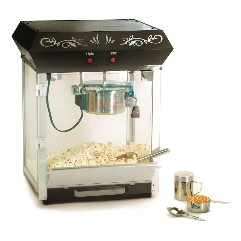 Elite Deluxe EPM-650B Maxi-Matic 4 Ounce Old-Fashioned Tabletop Popcorn Popper Machine with Accessories, Black
