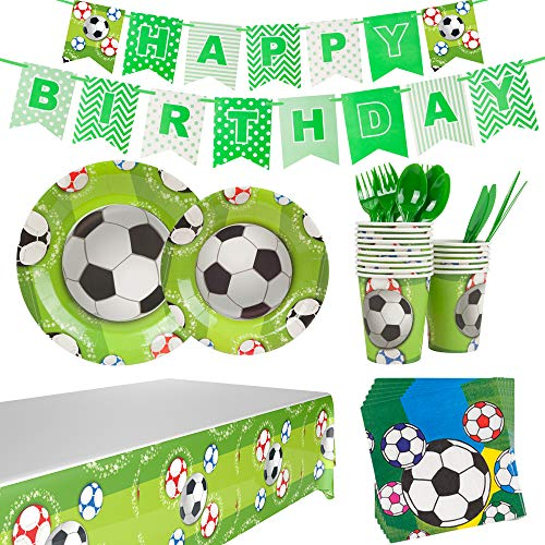 Soccer Themed Party (Mpartido Soccer Birthday Party Supplies Set 114 Pcs Serves 16 Includes Dinner Plate, Dessert Plate,Napkin, Cups,Birthday Banner,Table Cloth,Knife, Spoon and Fork for Kid's Soccer Themed)