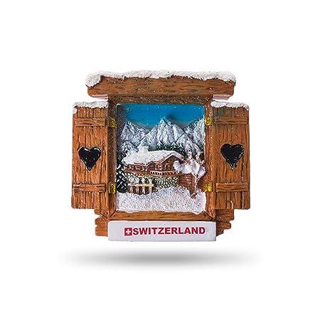 JUMI /¿Ventana de Chalet con Vista de la chaleta y Monta/ñas Im/án 3D 7 x 6,5 cm Im/án para Nevera