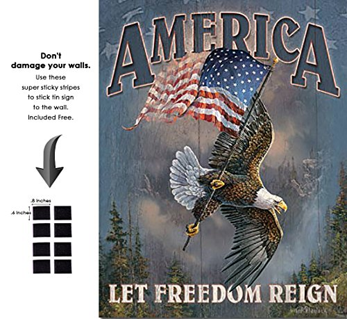 (Shop72 - American Theme Tin Sign Decorative Sign and Vintage Retro TinSigns - Let Freedom Reign - with Sticky Stripes No Damage to Walls)