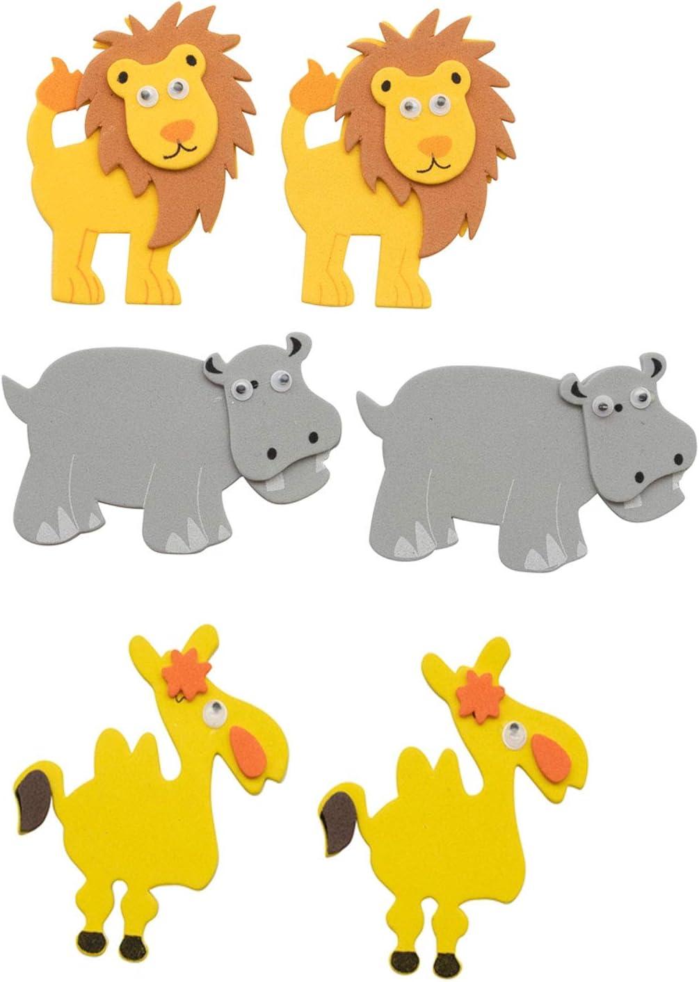 f/ür Scrapbooking 12 St/ück ideal zum Verzieren und Dekorieren von Gru/ßkarten selbstklebend usw. Glorex 6 2247 700 Moosgummi Sticker Afrika 1 sortiert in verschiedenen Motiven