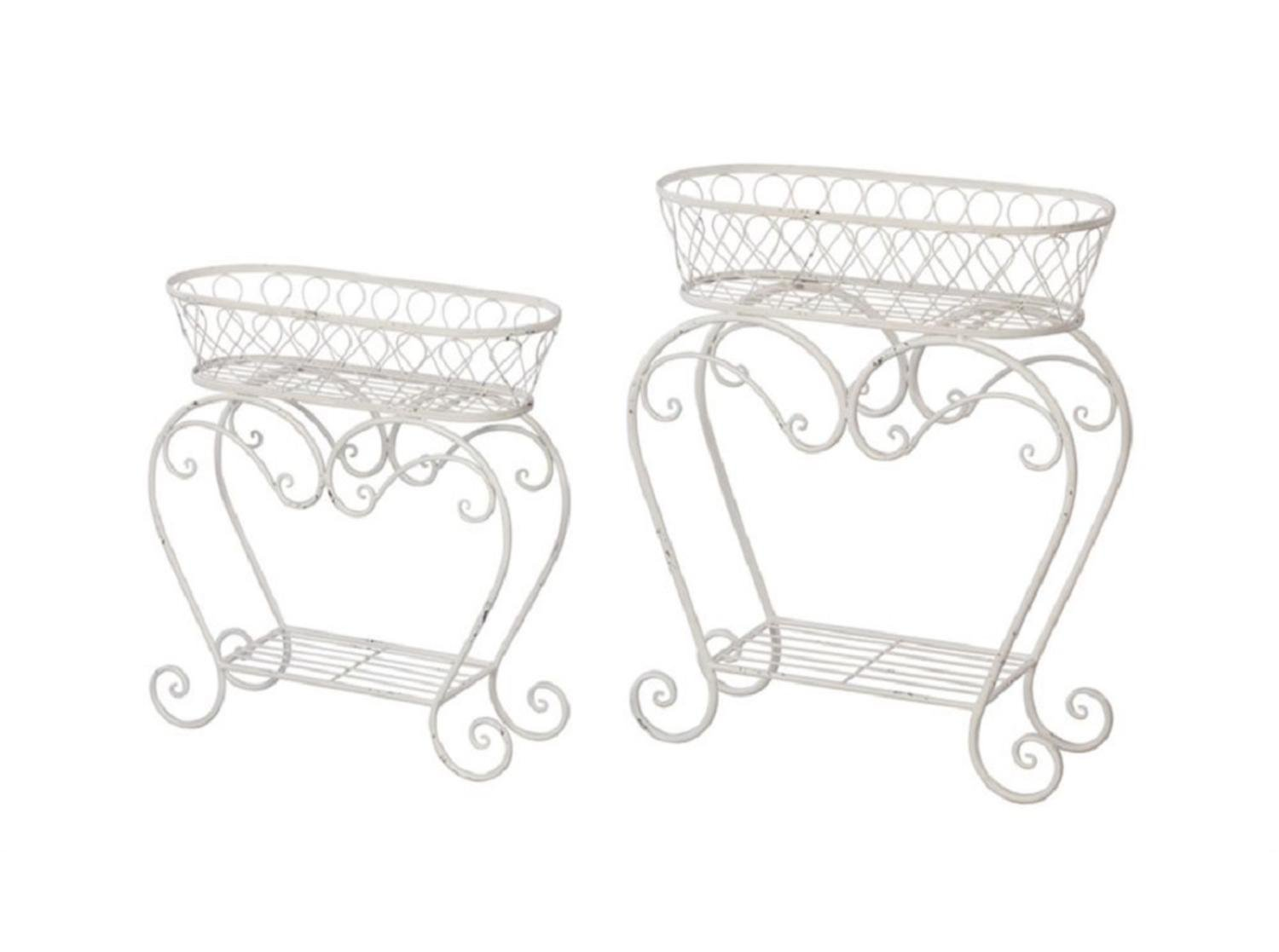 Set of 2 Enchanting Distressed Look Oblong Decorative Plant Stand 30""