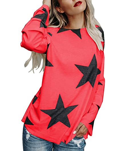 d9ffb49e2799 Mojessy Women s Sexy Boat Neck Long Sleeve Star Print Pullover Tshirt  Sweatshirt Blouse Tops XXXX-Large Red at Amazon Women s Clothing store