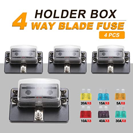 bunker indust 4pcs 4-way blade fuse box with led indicator for blown fuse,