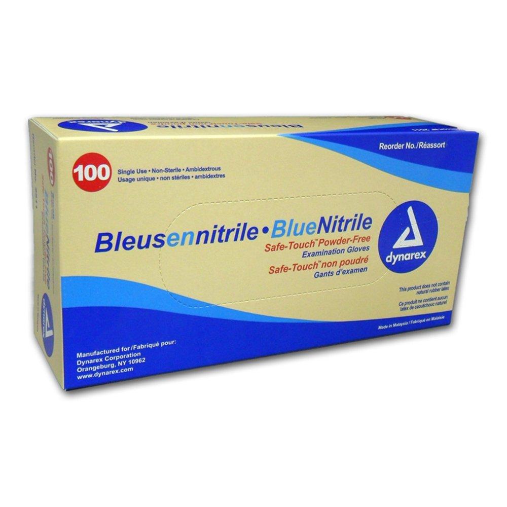Dynarex 2512 SafeTouch Nitrile Exam Gloves, Non-Latex, Powder Free, Medium, Blue (Pack of 1000) by Dynarex