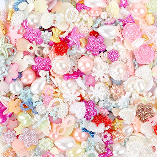 YIQIHAI 900pcs Flatback Rhinestones Pearls Resins Random Embellishments for Crafts Mixed Styles Loose Gems for DIY