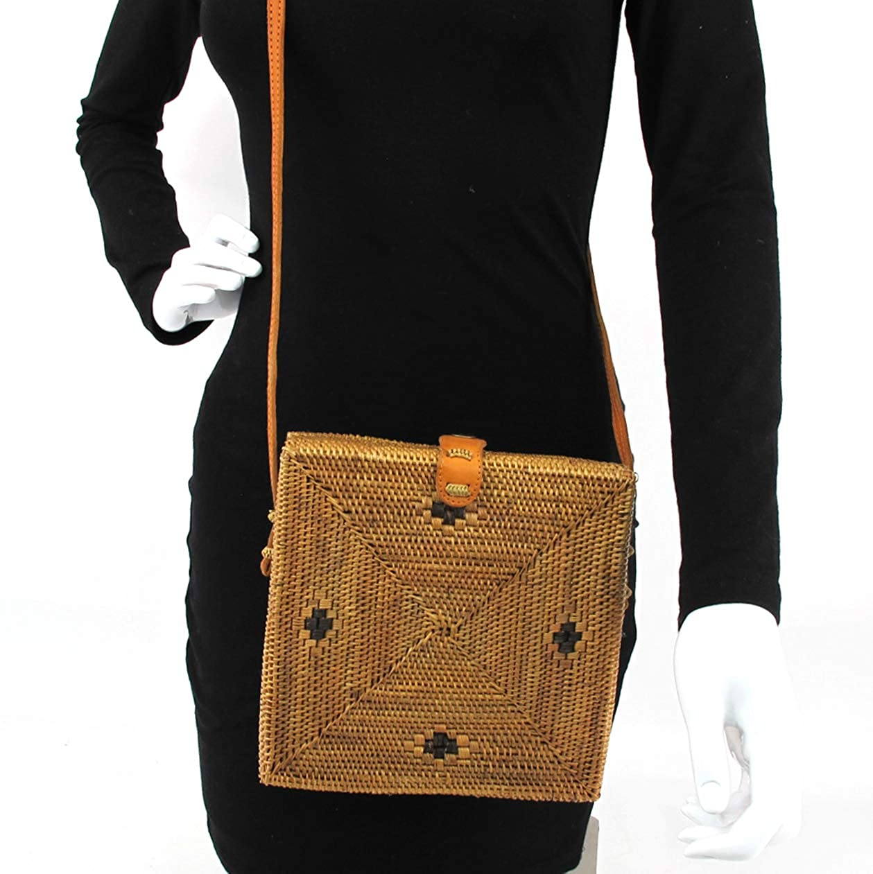 Square and Leather Clip Woven//w Genuine-Leather Strap Summer Beach Handbag