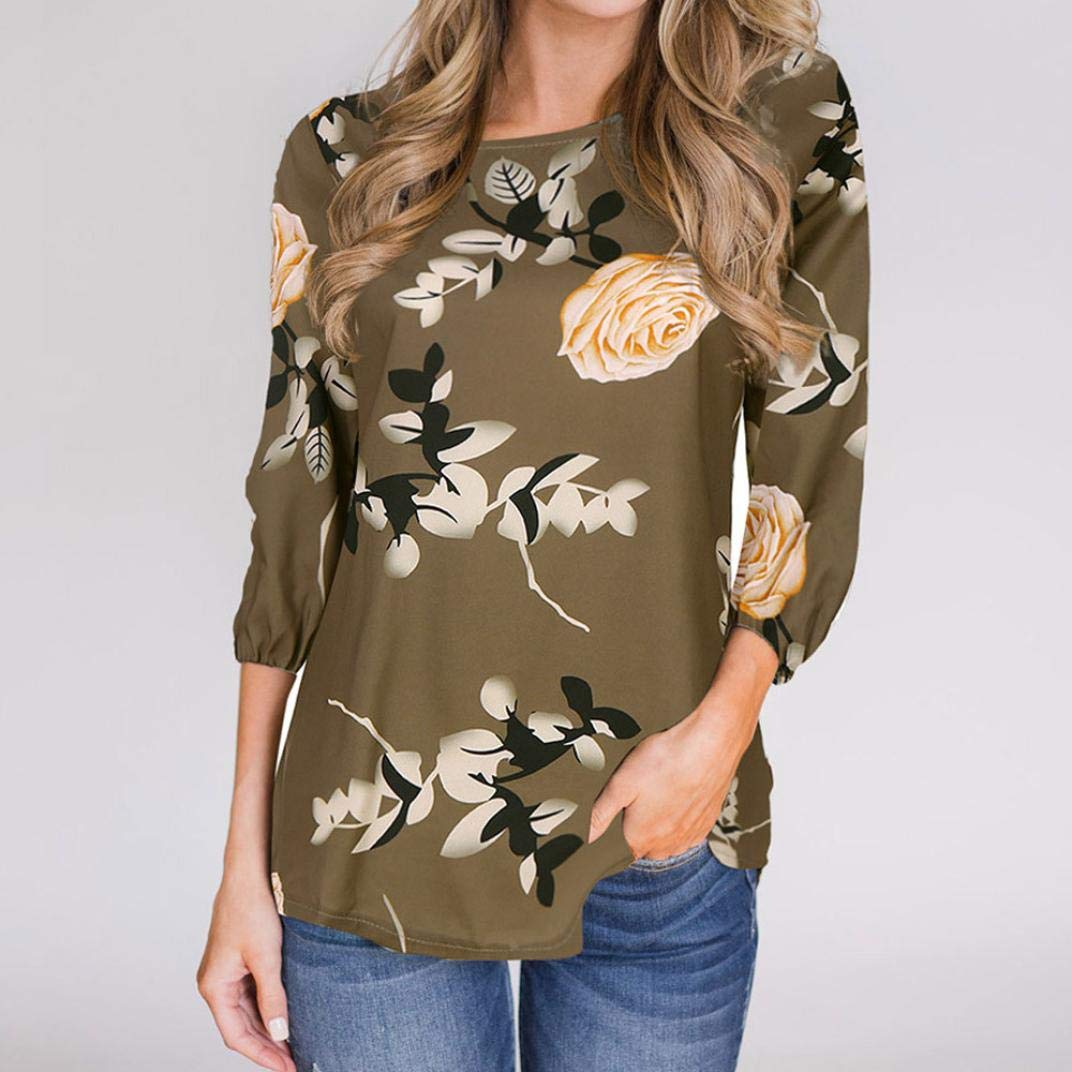 Keliay Womens Casual Printed Floral Three Quarter Sleeve Top Blouse at Amazon Womens Clothing store: