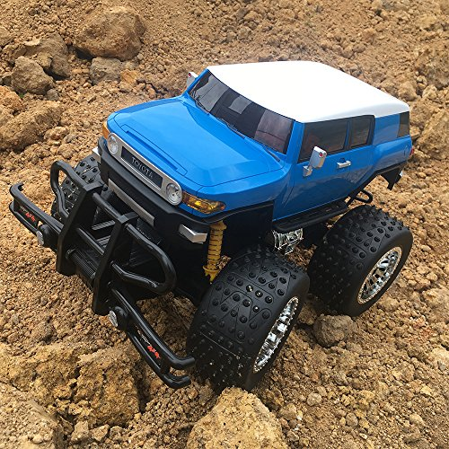 ElementDigital RC Truck Remote Control Car Toyota FJ Cruiser SUV 1:10 Remote Controlled Monster Truck Off-road Vehicle Radio Control Toy Kids Christmas Gift 1/10 Model Blue Body Electrical Wiper