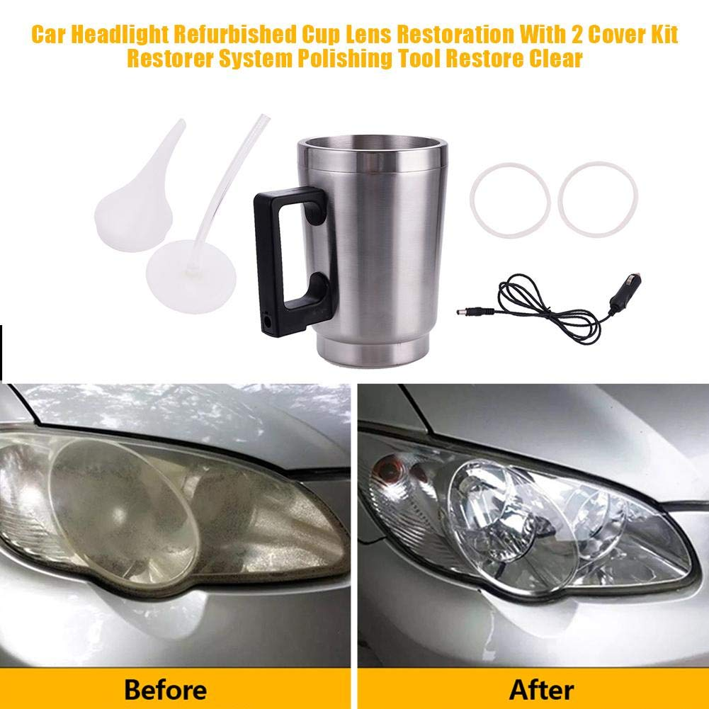 Kinbelle 600ML Headlight Refurbished Atomization Cup with 2 Cover Kit Car Headlight Lens Restoration Tool
