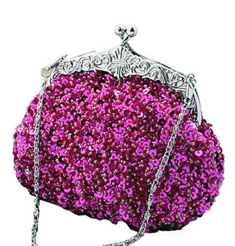 Chicastic Fully Sequined Mesh Beaded Antique Style Formal Cocktail Clutch - Fuchsia (Clutch Mesh Sequin)
