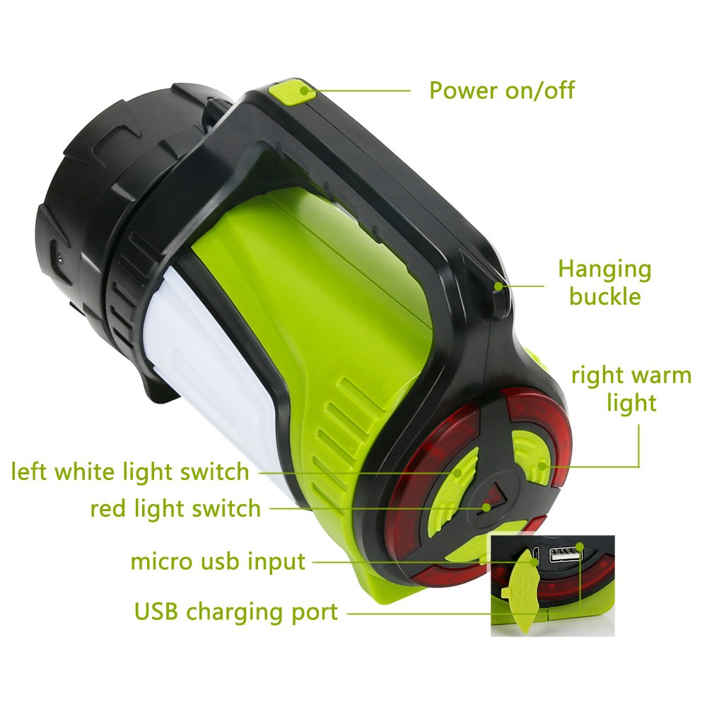 Rechargeable Spotlight Searchlight,Rechargeable Flashlight- 10 Modes Multifunction Super Bright Outdoor Camping Lights with USB Ports to Charge Mobile Devices and Special SOS Modes by Hallomall (Image #2)