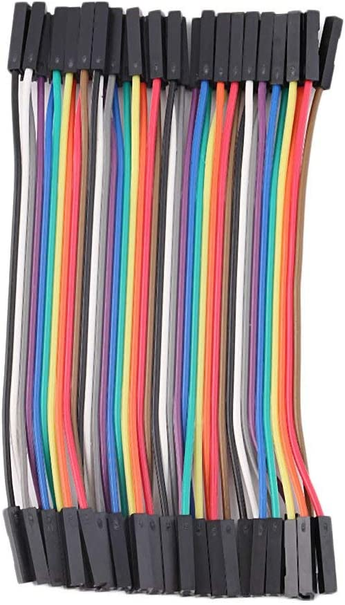 40pcs//Row 10cm 2.54mm Female to Female Wire Jumper Cable 1P-1P for Arduino Multicolor