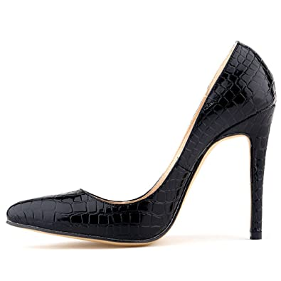 ZriEy Women Sexy Shoes Crocodile Closed Pointed Toe Stiletto High Heels for  Wedding Dress Pumps Black 2cc7a99c9825