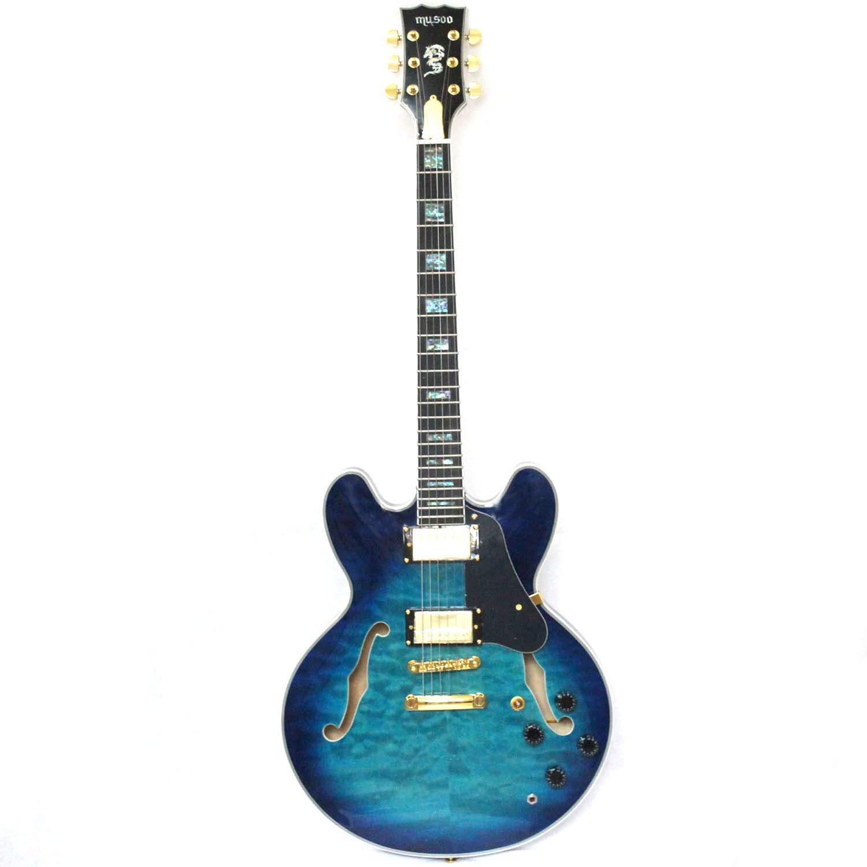 Semi-hollow body custom electric jazz guitar by MUSOO