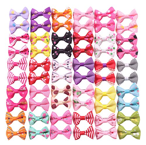 YAKA 60PCS (30 Paris) Cute Puppy Dog Small Bowknot Hair Bows with Clips,Handmade Hair Accessories Bow Pet Grooming Products (60 Pcs,Cute Patterns) (Clips Style ()
