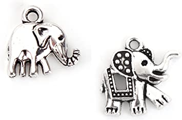 Tibetan Silver Charms Cute Cartoon Elephant Spacer Beads for DIY Craft 20Pcs