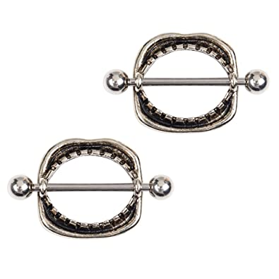 BODYA Pair 316L Surgical Steel Vintage Love Bite Mouth Fangs Nipple Bar  Ring Shield Barbell Piercing 6ebb4d424090