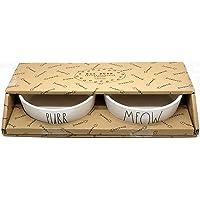 Rae Dunn Magenta Ceramic Cat Pet Bowl Meow Purr Gift Boxed Set of 2