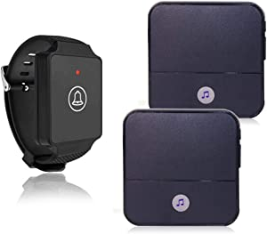 Wireless Caregiver Pager Watch Call Button in Home Nurse Alert Pager Personal Help Alert for Caregivers Patients Elderly 1 Watch Call Button 2 plugin Receivers