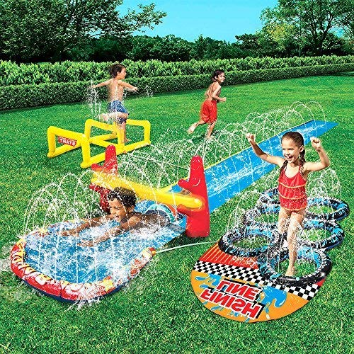 Kids Inflatable Splash Park. This Big Kiddie Blow Up Above Ground Long Water Slide is Great for Toddlers, Children, Boys, Girls, Aqua Blast Obstacle Course Sprinkler to Have Outdoor Water Fun. by Inflatable-Slide-Park