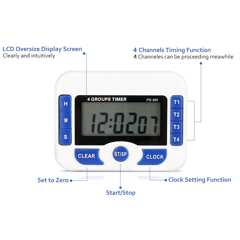 Boliduo 4 Channels Digital Timer with Large LCD Display