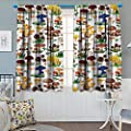 "Chaneyhouse Mushroom Patterned Drape for Glass Door Pattern with Types of Mushrooms Wild Species Organic Natural Food Garden Theme Waterproof Window Curtain 55"" W x 39"" L Multicolor"