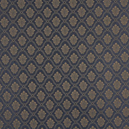 A491 Navy and Gold Two Toned Brocade Medallion Upholstery Fabric by The Yard
