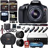 Canon EOS Rebel T6 Digital SLR Camera Kit, EF-S 18-55mm f/3.5-5.6 IS II Lens, Canon PIXMA Printer, Photo Paper, 2x 32GB Memory Card and Accessory Bundle