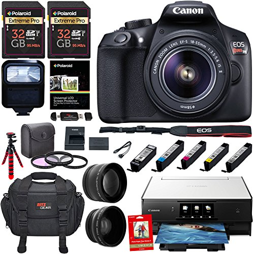 Canon EOS Rebel T6 Digital SLR Camera Kit, EF-S 18-55mm f/3.5-5.6 IS II Lens, Canon PIXMA Printer, Photo Paper, 2 x 32GB Memory Card and Accessory Bundle
