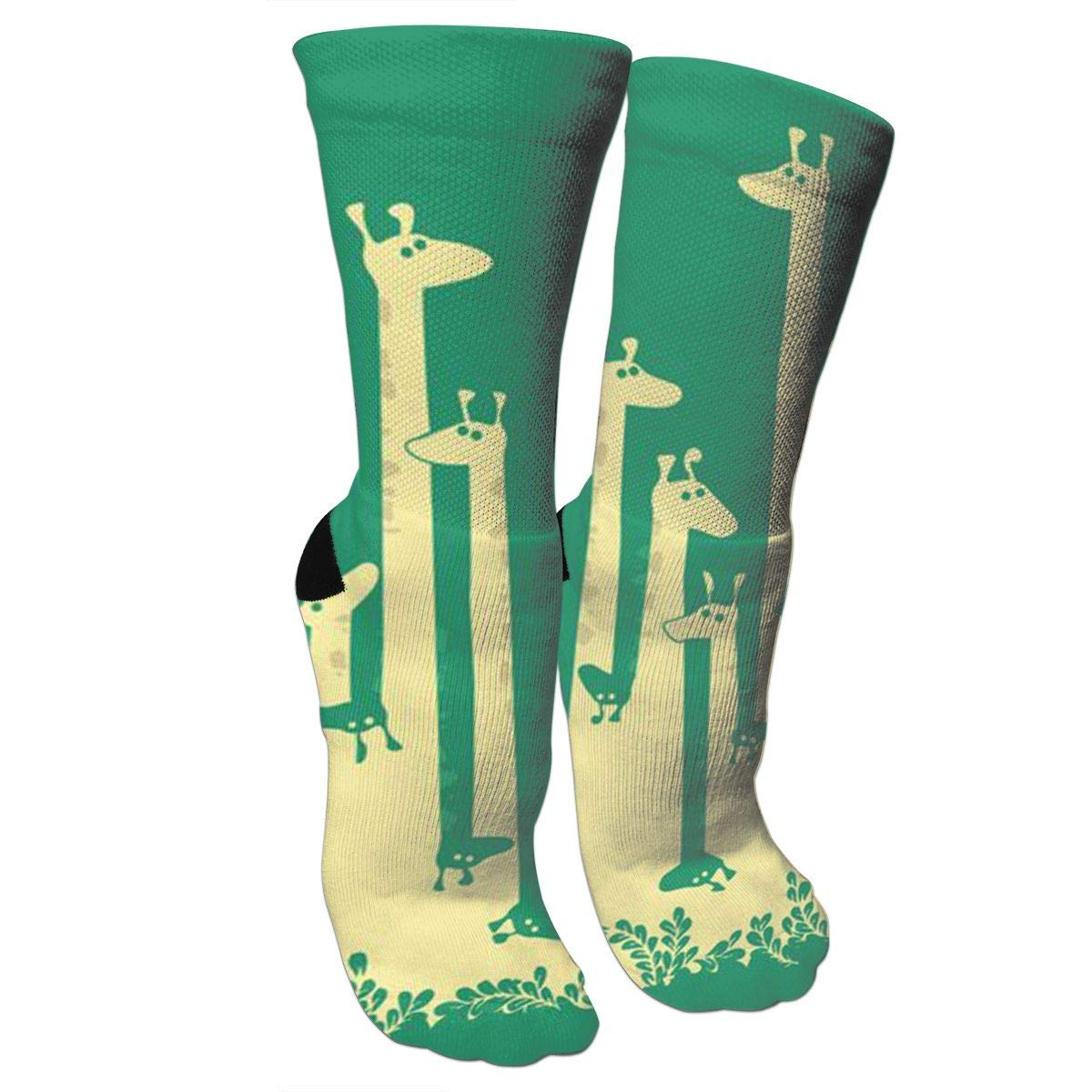 Green Giraffe Crazy Socks Soft Breathable Casual Socks For Sports Athletic Running